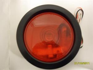 "AutoSmart 4"" ROUND SEALED STOP / TURN / TAIL LIGHT KIT W BULB GROMMET AND PLUG RED KL-20107RK"