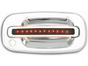IPCW 99-06 Chevy Silverado/Avalanche/Suburban/Tahoe Cadillac Escalade GMC Sierra/Yukon/XL LED Door Handle Front Chrome (2ps/set) Both Sides Key Hole Red LED/Smoke Lens CLR99S18F