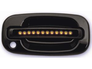 IPCW 99-06 Chevy Silverado/Avalanche/Suburban/Tahoe Cadillac Escalade GMC Sierra/Yukon/XL LED Door Handle Front Black (2ps/set) Both Sides Key Hole Amber LED/Smoke Lens CLY99B18F