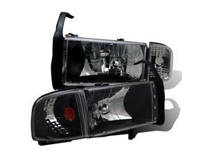 CG DODGE RAM 94-01 CRYSTAL HEADLIGHT BLACK AMBER WITH CORNER LIGHT 02-AZ-DR94-SET-B-A PAIR