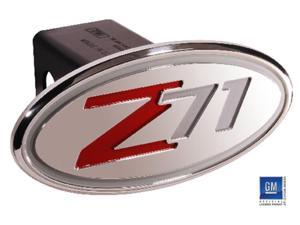 "Defenderworx Chevy Z71 (2001-2005) Silver & Red Oval 2"" Billet Hitch Cover 34015"