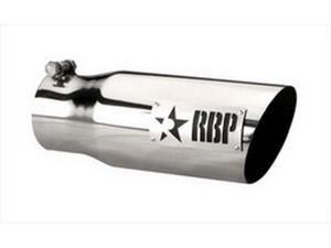 """RBP 35452 3.5""""-4.5""""X 12"""" Exhaust Tail Pipe Tip SS W/LASER CUT TWO TONE LOGO (STANDARD SIDE)"""