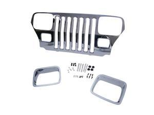 Omix-ada This chrome grille overlay from Mopar fits 87-95 Jeep YJ Wranglers. 12033.06