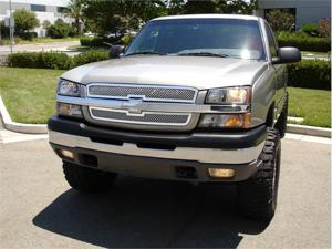 T-REX 2003-2005 Chevrolet Silverado (All Models Except 05 HD) Upper Class Polished Stainless Mesh Grille - 2 Pc Style POLISHED ...