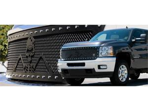 "T-REX 2007-2011 Chevrolet Silverado 1500 URBAN ASSAULT ""GRUNT"" - Studded Main Grille w/ Soldier - Black OPS Flat Black - Custom 1 Pc Style (Replaces OE Grille) (UPS OS3) FLAT BLACK 7111116"