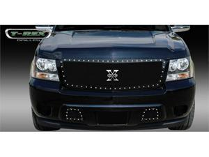 T-REX 2007-2012 Chevrolet Avalanche X-METAL Series - Studded Main Grille - ALL Black - Custom 1 Pc Style (Requires cutting factory bumper) BLACK 6710521