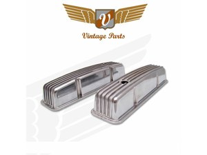 Vintage Small Block Chevy Tall Finned Valve Cover with Breather Hole - Pair VPAVCYAA