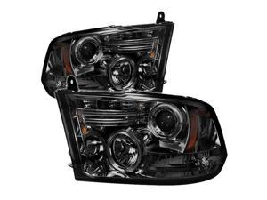 Spyder Auto Dodge Ram 1500 09-12 ( Non Quad Headlights ) Halo LED ( Replaceable LEDs ) Projector Headlights - Smoke PRO-YD-DR09-HL-SM