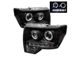 Spyder Auto Ford F150 09-12 Halo LED ( Replaceable LEDs ) Projector Headlights - Black PRO-YD-FF15009-HL-BK