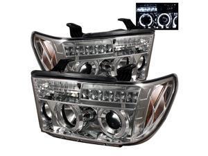Spyder Auto Toyota Tundra 07-11 / Toyota Sequoia 08-11 Halo LED ( Replaceable LEDs ) Projector Headlights - Chrome PRO-YD-TTU07-HL-C
