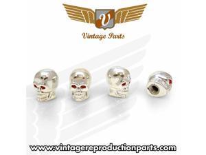 Vintage Set of 4 Chrome Skull Valve Caps VPAVC01