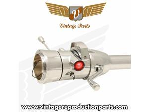 """Vintage 33"""" Red Push Button Start Chrome Steering Column Automatic with Gear Indicator Window and Shifter VPASTCOL1PRD"""