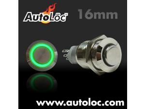 Autoloc 16Mm Momentary Billet Button With Led Green Ring AUTSW38G