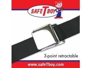 Safe Tboy 3Pt Black Retractable Airplane Buckle - Each STBSB3RABK