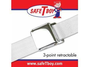 Safe Tboy 3Pt White Retractable Airplane Buckle - Each STBSB3RAWT