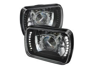 Spyder Auto Universal 7x6 Inch Projector Headlights W/LED -Black 5073969