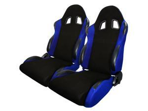 Spec-D Tuning Bride Sty Racing Seats - Black/Blue - Cloth - Pair RS-504-2