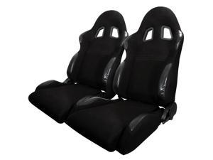Spec-D Tuning Bride Sty Racing Seats - Black - Cloth - Pair RS-501-2