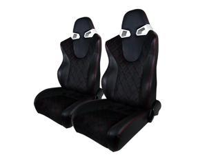 Spec-D Tuning Black Rvc With Blue Suede Racing Seat- Pair RS-C400SURS-2