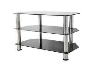 "AVF Glass Floor Stand with Chrome Legs for TVs up to 40"", Black (SDC800-A)"