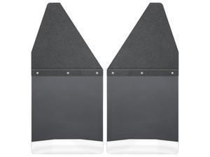 """Husky Liners Kick Back Mud Flaps Front 12"""" Wide - Black Top and Stainless Steel Weight 17100"""
