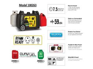 Champion Power Equipment 3,400-Watt Dual Fuel Push-Button Electric Start Portable Inverter Generator with Parallel Capability 100263
