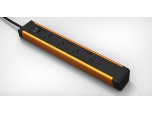 KBAR 3 AC Outlet with Dual 2.1A USB Charger (Orange Aluminum + Black End cap)