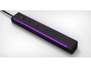KBAR 3 AC Outlet with Dual 2.1A USB Charger (Purple Aluminum + Black end cap)