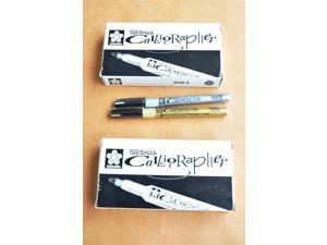 Japan Sakura 1.8mm Metallic Pen-Touch Calligrapher Gold C#51 / Silver C#53 Combo 2pk