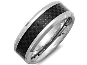 8mm Mens Comfort Fit Carbon Fiber Tungsten Wedding Band ( Available Ring Sizes 7-12) SZ10.5