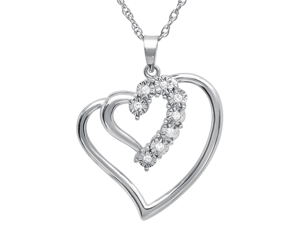 "Amanda Rose Collection Sterling Silver Journey Diamond Double Heart Pendant w/ 18"" Chain (1/10cttw)"