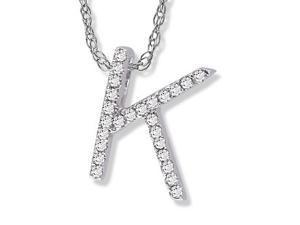 "14K White Gold Diamond ""K"" Initial Pendant, 16"" Necklace"