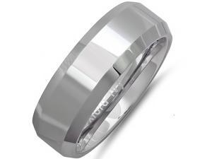 8mm Beveled Edge Comfort Fit Tungsten Carbide Wedding Band ( Available Ring Sizes 7-12 1/2) sz 8