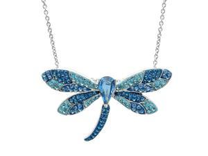 Amanda Rose Sterling Silver Blue Crystal Dragonfly Pendant Necklace with Swarovski Elements