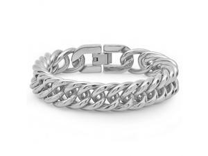 Mens Solid Stainless Steel Interlocking Chain Link Bracelet