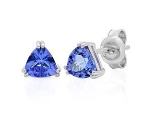 Tanzanite Trillion Cut Stud Earrings in Sterling Silver 1 ctw