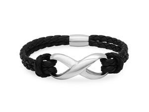 Oxford Ivy CMSB2015-019 Braided Black Leather and Stainless Steel Infinity Bracelet with Magnetic Clasp (8 Inches)