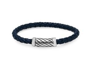 Oxford Ivy CMSB2015-002-1 Braided Navy Leather Bracelet with Magnetic Stainless Steel Clasp (8 3/4 inches)