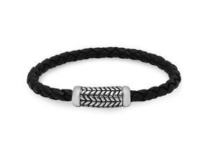 Oxford Ivy CMSB2015-001-2 Braided Black Leather Bracelet with a Magnetic Stainless Steel Clasp ( 8 3/4 Inches)