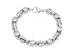 Mens Solid Stainless Steel Chain Link Bracelet 8 1/2 inches