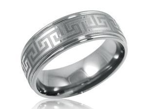 8mm Comfort Fit Greek Key Titanium Wedding Band (Choose Your Ring Size 8-12 1/2) sz 9.5
