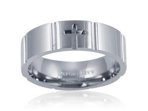 7mm Comfort Fit Engraved Cross Titanium Wedding Band (Choose Your Ring Size 8-12 1/2) SZ 11.5