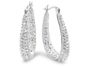 Amanda Rose Sterling Silver Crystal Hoop Earrings with Swarovski Elements