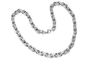 Mens  Solid Stainless Steel Mechanic Style Mens Chain Link Necklace 21 1/2 inches