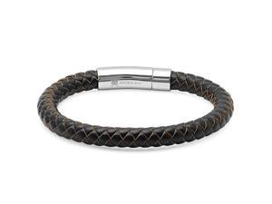Oxford Ivy GSSB615 8 1/2 Inches Men's Dark Brown Braided Leather Bracelet with Locking Stainless Steel Clasp