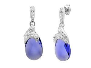Sterling Silver Crystal Dangle Earrings with Lavender and White Swarovski Elements