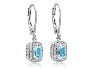 Sterling Silver Sky Blue Topaz and Diamond Lever Back Earrings (1.20ct tw)