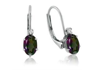 10K White Gold Mystic Topaz and Diamond Leverback Earrings 1ct tw
