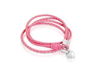 Ladies Braided Pink Leather Wrap Around Heart Toggle Bracelet