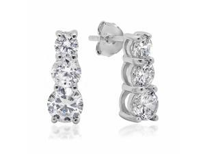 Sterling Silver Round Three Stone Cubic Zirconia Stud Earrings 5ct tw.